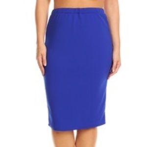 Royal Blue Textured Pencil Skirt